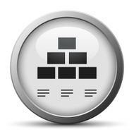 silver button with icon of Pyramid diagram
