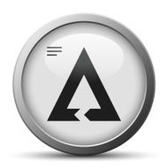silver button with icon of triangular Chevron Chart