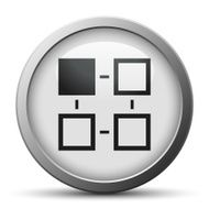 silver button with icon of block chart