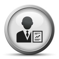 silver button with icon of Businessman and diagram