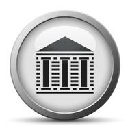 silver button with icon of Bank building