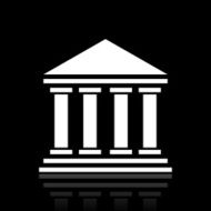Bank icon on a black background - White Series N5