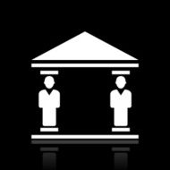 Bank icon on a black background - White Series N6