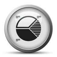 Pie Chart icon on a silver button - Silver Series N5
