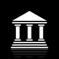 Bank icon on a black background - White Series N7