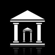 Bank icon on a black background - White Series N8