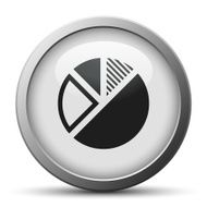 Pie Chart icon on a silver button - Silver Series N6