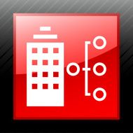 Office Building icon on a square button - Sleek Series N2