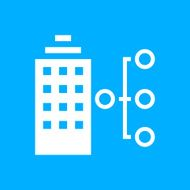 Office Building icon on a blue background - Smooth Series N2