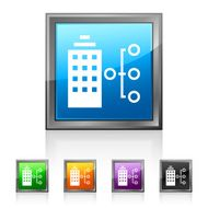 Office Building icon on square buttons - Squared Series N2