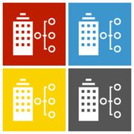 Office Building icon on square buttons - Square Series N2