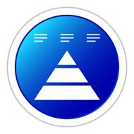 Pyramid, icon on a round button - Sticker Series