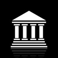Bank icon on a black background - White Series N9