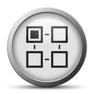 Flowchart icon on a silver button