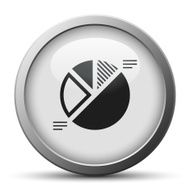 Pie Chart icon on a silver button