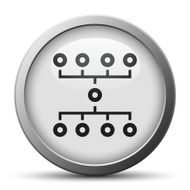 Flowchart icon on a silver button N6