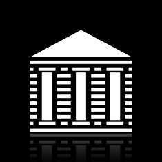 Bank icon on a black background - White Series N2