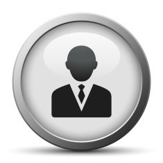 silver button with icon of Businessman