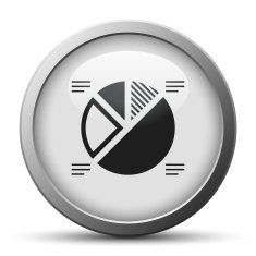 silver button with icon of Pie Chart