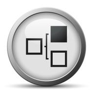 Flowchart icon on a silver button N8