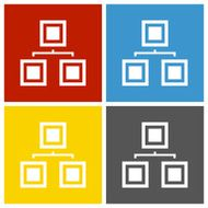 Organization Chart icon on square buttons N3