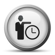 Businessman icon on a silver button N13