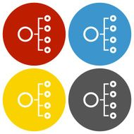 Organization Chart icon on circle buttons N5