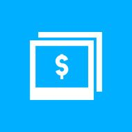 Photography Sale icon on a blue background
