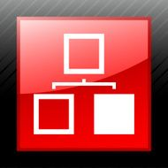 Organization Chart icon on a square button N13