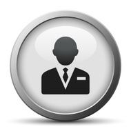 Businessman icon on a silver button N16