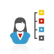 Businesswoman icon on a white background N29