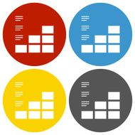 Bar Graph icon on circle buttons N29