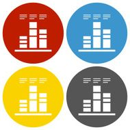 Bar Graph icon on circle buttons N30