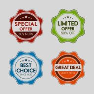 Colorful set of commercial sale stickers