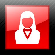 Businesswoman icon on a square button N22
