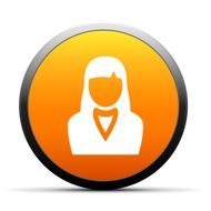 Businesswoman icon on a round button N49