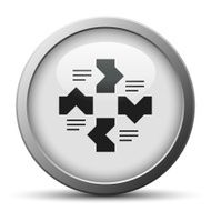 Flowchart icon on a silver button N14