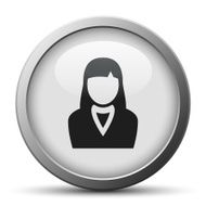 Businesswoman icon on a silver button N6