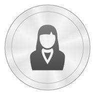 Businesswoman icon on a round button N50