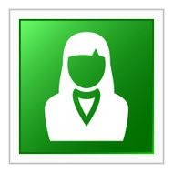 Businesswoman icon on a square button N24