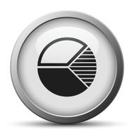 Pie Chart icon on a silver button N6