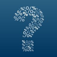 Question mark with percent symbol on blue background