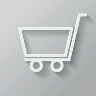 Shopping Cart Paper Thin Line Interface Icon With Long Shadow