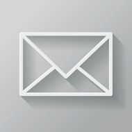 Mail Paper Thin Line Interface Icon With Long Shadow