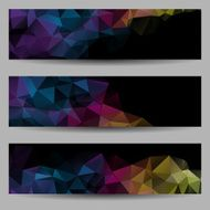 Set of banners with abstract triangles N3