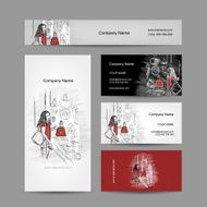 Set of business cards design girl near the storefront