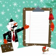 snowman bussinesman winter clipboard retro vintage illustration vector