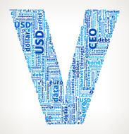 Letter V on Business and Finance Word Cloud