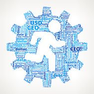 Stick Figure and Gear on Business Finance Word Cloud