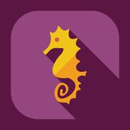 Flat modern design with shadow icons seahorses